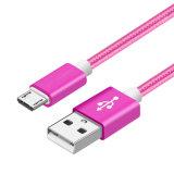 USB trenzado de nylon al cable de carga micro del USB para el androide