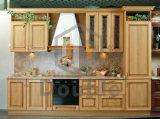 Gabinete de cozinha antigo da madeira contínua com gabinete do console