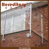 De Omheining van de Balustrade van het Glas van het Balkon van het roestvrij staal, Traliewerk van het Glas van de Trede van het Roestvrij staal het Post (sj-H1175)