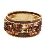 Mode volet multi-couches Bracelet Bangle Bracelet Perles de pierre pour les femmes 3 couleurs Layered Bangle