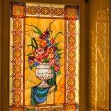 Modernes Film-Entwurfs-Buntglas-Fenster für Hintergrund