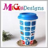 Tasses récemment en céramique avec couvercles Grande tasse de thé blanc