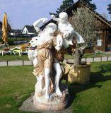 Décoration de jardin de sculpture sur pierre Statue de la famille des sculptures en marbre