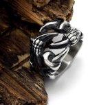 Het uitstekende Zilveren Roestvrij staal van de Ring van de Poot van de Draak Mannelijke Gotische Punk