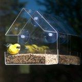 Ventana de acrílico transparente Creative comedero para pájaros con fuertes All Weather aspiradores