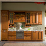 Gabinete de cozinha de madeira de teca sólida de pintura moderna (GSP5-046)