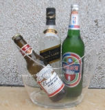 Venda por atacado redonda acrílica da cubeta de gelo da cerveja