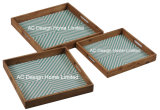 S/3 carré en bois de la cuisson du pain d'impression personnalisée desservant le bac W/la poignée
