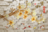 Papel de parede 3D da orquídea chinesa para pintura de decoração para casa