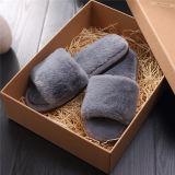 方法女性の羊皮の柔らかい毛皮のスリッパの冬の暖かい屋内スリッパ
