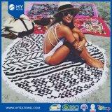 カスタマイズされた印刷のふさの円形のビーチタオル