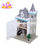 À la main le château de poupée en bois miniature de bricolage pour les enfants W06A349