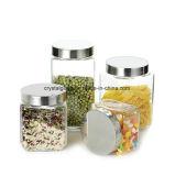 Copo para armazenamento de alimentos de vidro com tampas Alumite
