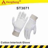 Van de Katoenen van 100% Handschoen van het Werk de Koppeling Gebreide Veiligheid van de Pols (ST3071)