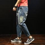 La Mens caliente negro agujero corredores Denim Jeans Custom angustiados Blue Jean