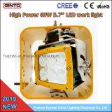 Boîtier jaune 60W 6'' Flood LED pour l'exploitation minière des feux de travail des machines
