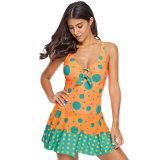 Les femmes de haute qualité Bleu Orange Polka Dot nager robe monobloc d'impression
