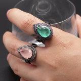 La mode de Luxe Bague à diamant goutte d'eau bijoux Anneau en métal noir Electroplated Icestone bague de verre