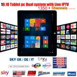 Ordinateur de table 10.10 pouces avec double système Windows 10 Android 5.1 PC tablette avec IPTV en direct