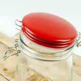 Vaso di vetro con la cristalleria di ceramica rossa del coperchio del contenitore di vetro