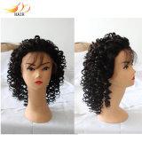 Peruca cheia do laço da peruca brasileira Curly do cabelo de Remy com cabelo do bebê