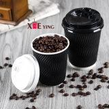 tazza di caffè di carta a gettare biodegradabile dell'ondulazione dell'onda 8oz