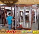 Porta dobrável de alumínio com cor de madeira