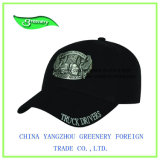 Gorra de béisbol negra del bordado de la manera con la tarjeta del hierro