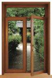 Haute qualité couleur bois de style classique Film enduit PVC Portes à battants pour Villa (PCD-005)