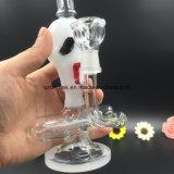 Tubo di acqua di vetro del cranio di Bontek con il tubo di fumo in-linea di Perc
