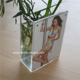 Florero cristalino de acrílico cuadrado claro con el marco de la foto (BTR-Q9029)