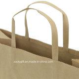 Respetuoso del medio ambiente natural de Brown de regalo de papel kraft de embalaje bolsas de asas planas