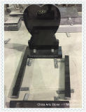 Pietra tombale nera pura del monumento di angelo del cuore del granito