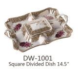 Dw-1001 사기그릇 사각에 의하여 분할되는 접시 14 ``