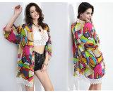 2016 de Kimono Hoogste /Blouse van de Chiffon van de Manier voor de Cardigan van het Af:drukken van Dames