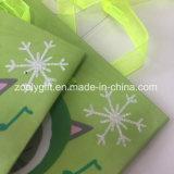 Sacos de papel presente pequeno da impressão da neve do Glitter do mini