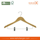 Percha de madera de la camisa de la naturaleza con dos clips (WL8001)