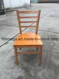 Silla de madera del restaurante del metal del final con el asiento de madera (FOH-C001)