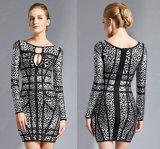 Платье ошпаренное серебром с длинними втулками и круглым платьем ворота