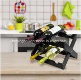 Crémaillère en bois de vin de bouteille pliable de la partie supérieure du comptoir 6 pour la maison