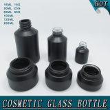 Fles die van het Glas van Guangzhou de Kosmetische de Matte Zwarte Kruiken van de Room van de Flessen van de Nevel van het Glas van de Schouder van de Helling verpakken