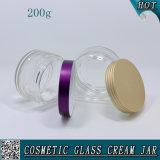 200ml rimuovono i vasi crema di vetro per cura di pelle con il coperchio di alluminio colorato