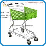carro de compra de alumínio do trole da cesta 50L plástica