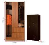 メラミンによって薄板にされるMFCは着せる収納キャビネットの木のワードローブ(HX-DR339)に