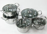 il Cookware dell'acciaio inossidabile 12PCS ha impostato con il coperchio di vetro
