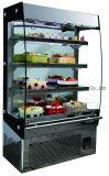 Refrigerador delantero y posterior de mármol comercial de la visualización de la torta de la apertura
