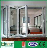 Janela dobrável de perfil de alumínio com grande janela de vidro temperado