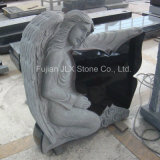 까만 화강암 나비 디자인 천사 묘비