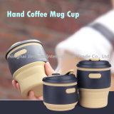 tasse de café compressible des silicones 12oz de cuvette de tasse portative de catégorie alimentaire de course