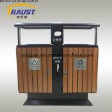 Scomparto di polvere di legno della canfora esterna, acciaio e pattumiera comunale di legno
